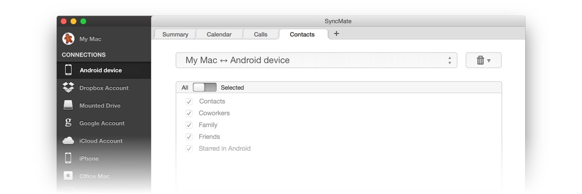 Android sync: synchronize Android and Mac using SyncMate