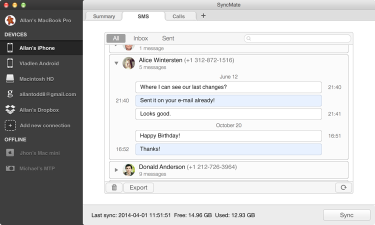 Manage SMS on Mac