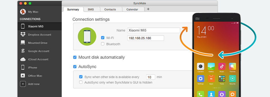 Let's look at the main features of SyncMate as Mi PC Suite for Mac