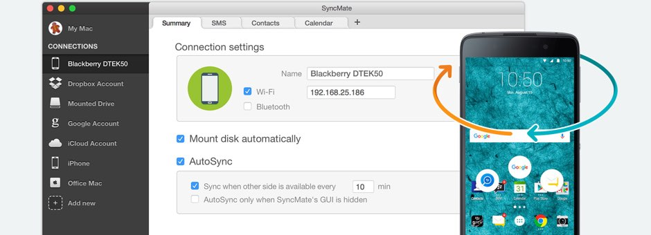 Android BlackBerry sync Mac