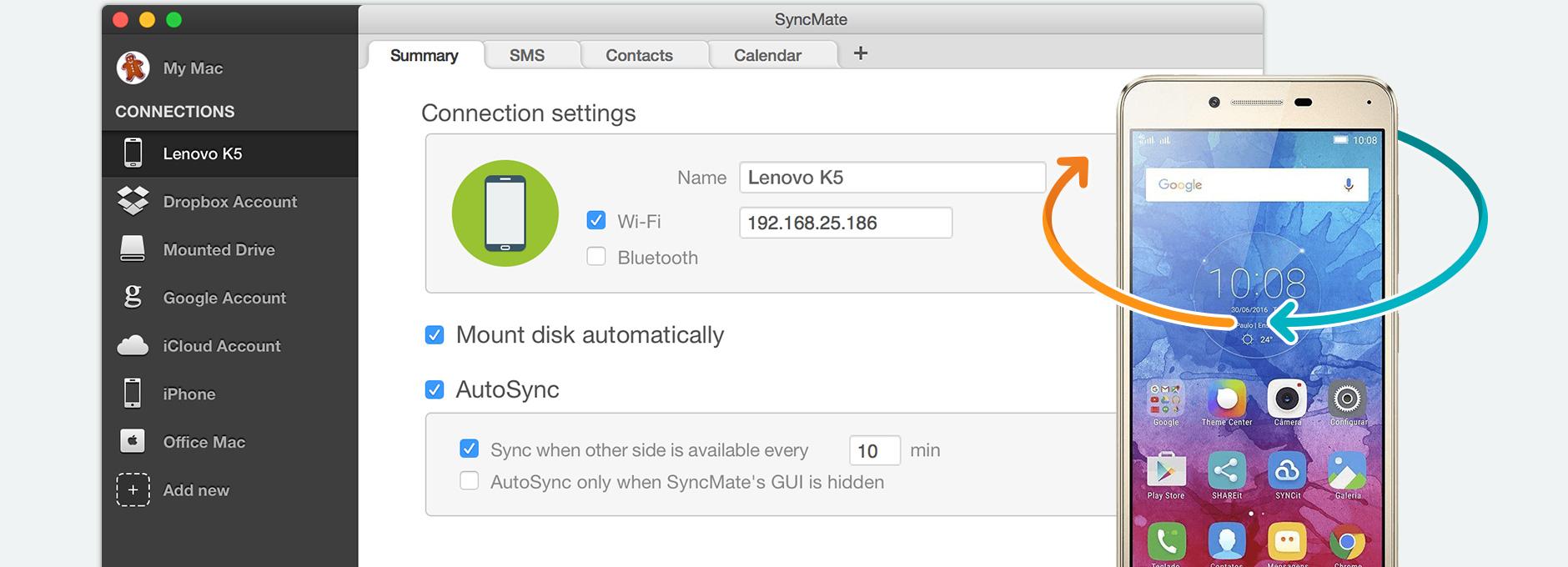 Lenovo sync Mac: synchronize Lenovo and Mac using SyncMate