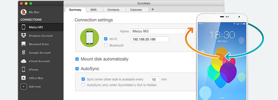 Synchronize Meizu with Mac