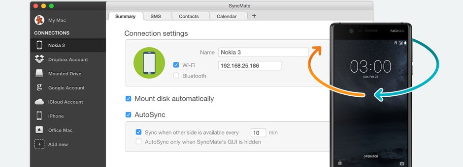 Android Nokia sync Mac