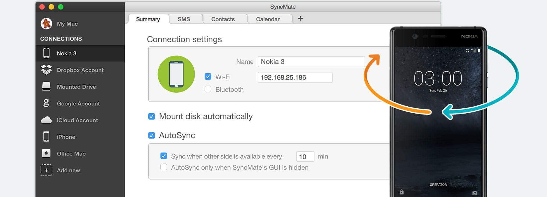 Synchronize Android Nokia with Mac for free
