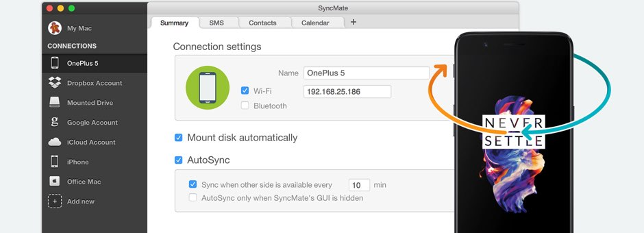 Android OnePlus sync Mac