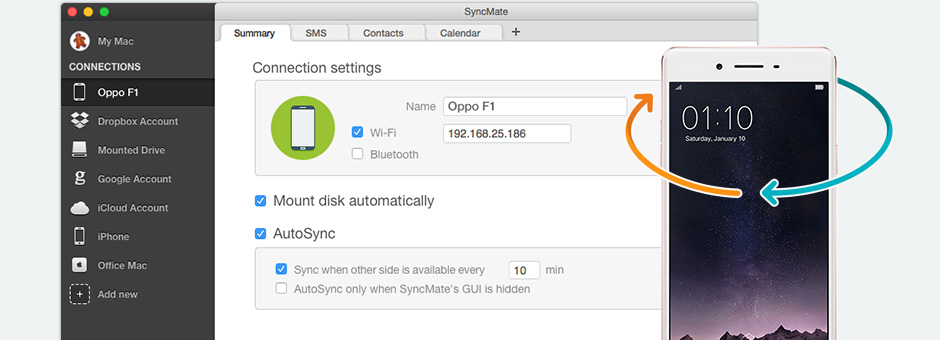 Synchronize Oppo with Mac
