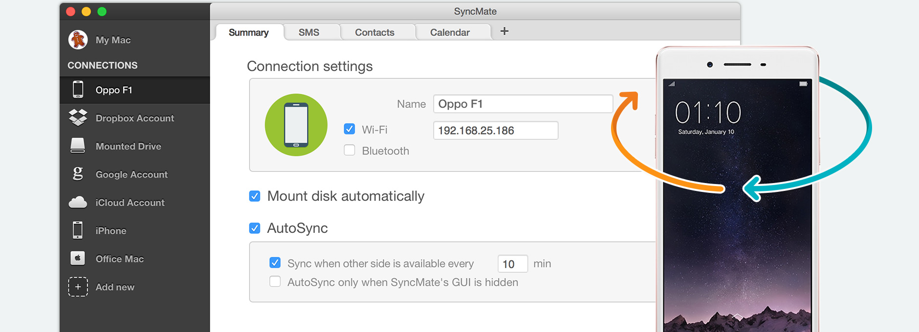 Synchronize Oppo Mac: sync Oppo phone with Mac using SyncMate