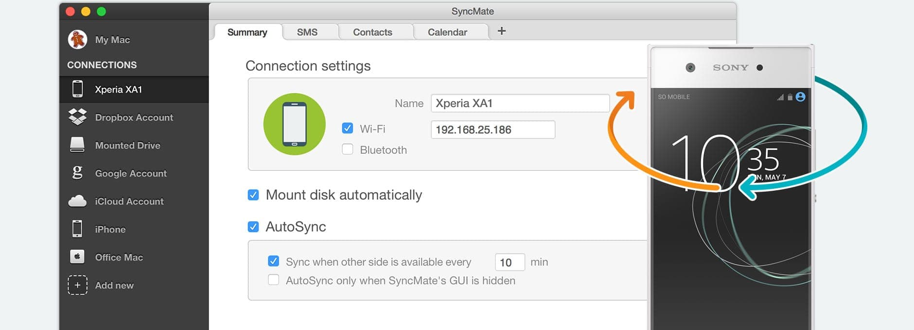 Synchronize Sony Xperia with Mac for free