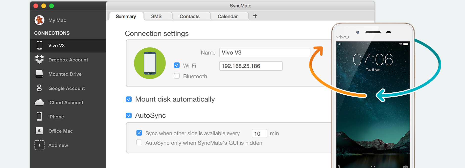 Synchronize Vivo Mac: sync Vivo phone and Mac using SyncMate
