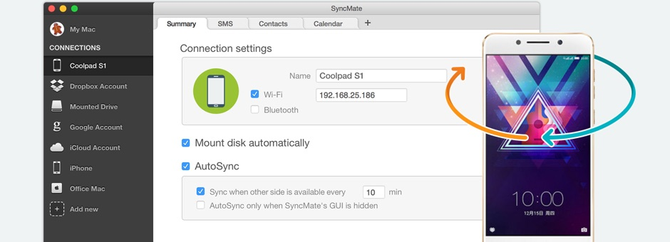 Android Coolpad sync Mac