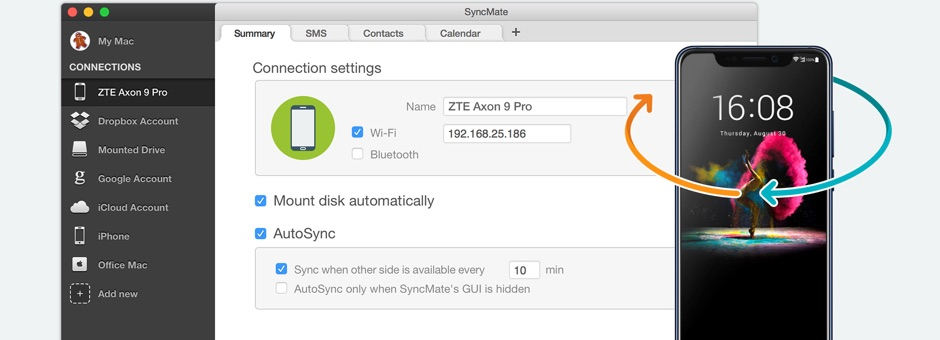 SyncMate can synchronize numerous types of content between ZTE gadgets and computers on macOS, and we've prepared a step-by-step guide for you on how to connect these devices.