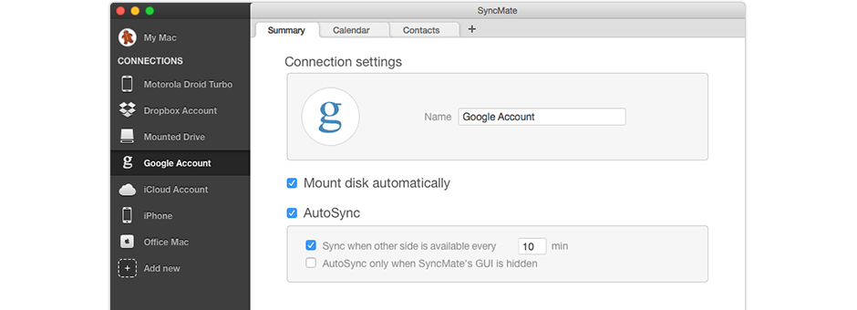 Sync your Mac with Google account