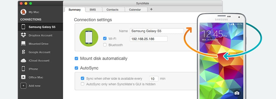Synchronize Samsung Galaxy with Mac