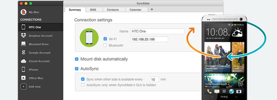 Synchronize Android HTC with Mac