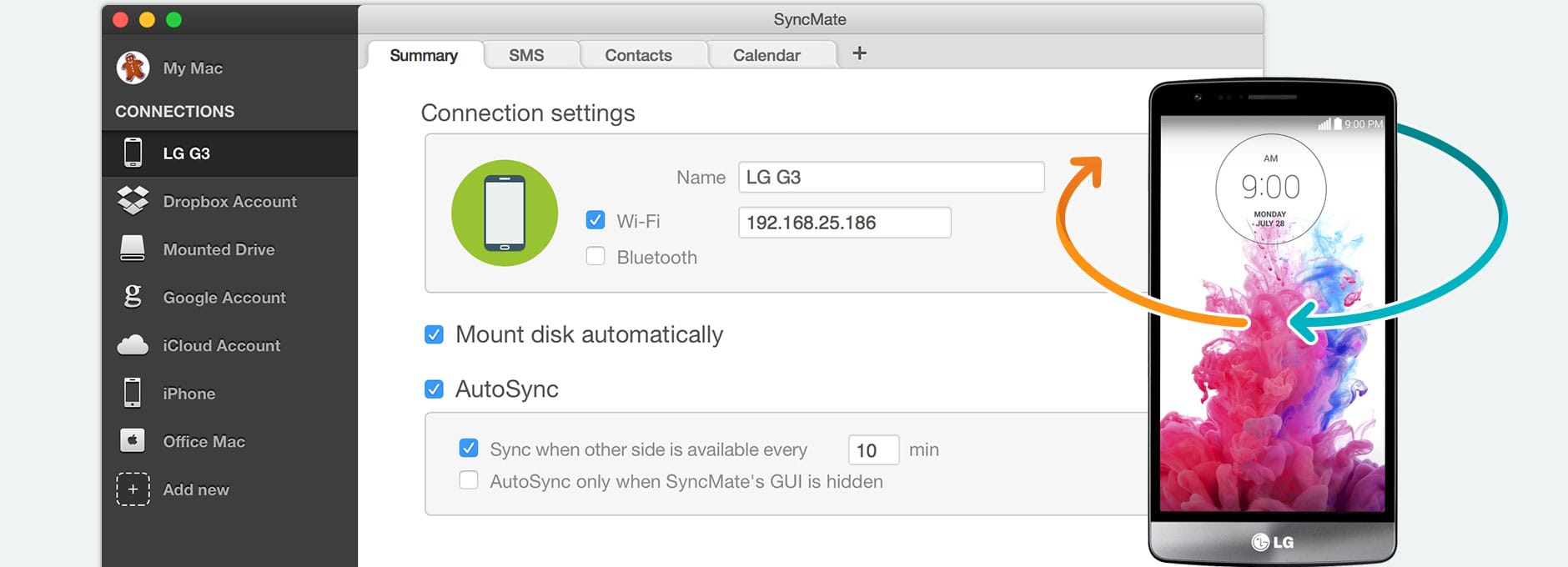 LG sync Mac: synchronize LG Mac with SyncMate, LG sync tool