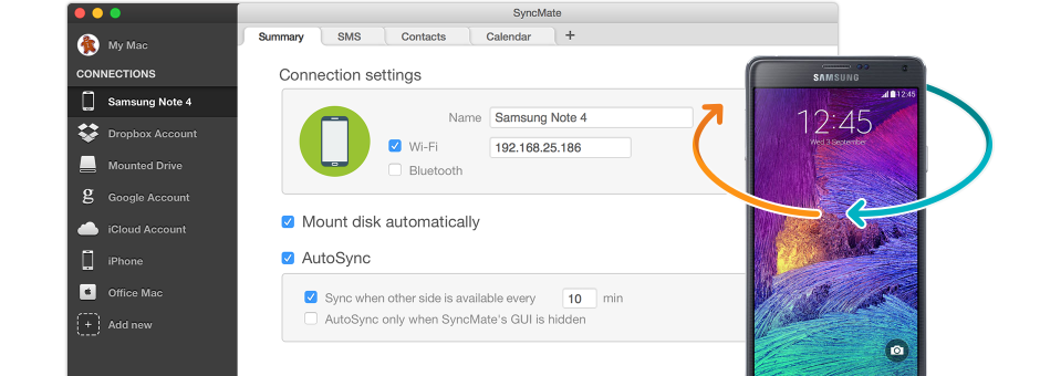 Find instructions to sync Samsung phone to Mac below.