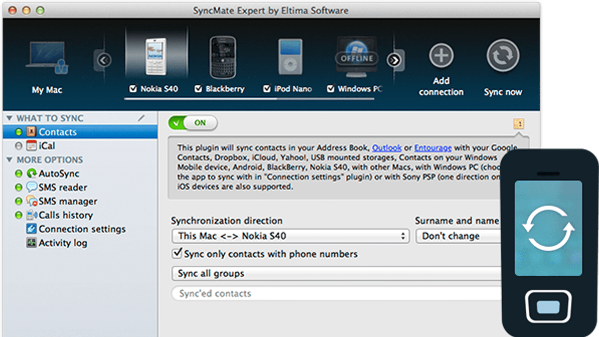 Nokia sync Mac: sync Mac Nokia with SyncMate 4, Mac suite Nokia