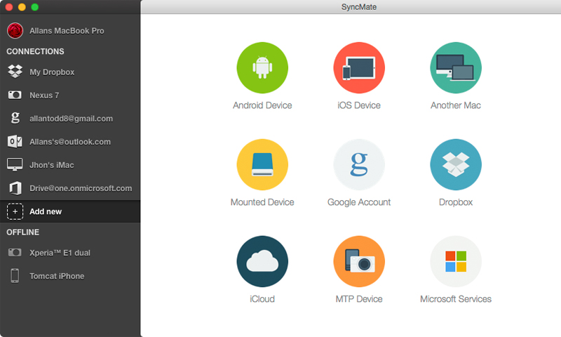 SyncMate syncs data on Mac with Android and iOS devices, Windows services (Outlook, Office 365 Business and Office 365 Home accounts), other Macs, Google, Dropbox and iCloud accounts, any mounted storage devices, MTP devices.